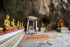 Khao Luang Cave in Phetchaburi,Thailand,with a large number of Buddha images inside. Royalty Free Stock Photos