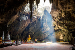 Khao Luang Cave in Phetchaburi,Thailand. Khao Luang Cave is the largest and the most beautiful cave in Phetchaburi,Thailand.The large hole on the ceiling allows Royalty Free Stock Image