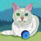 Khao Manee猫例证 免版税库存照片