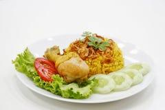 Khao mok kai thai food. Ingredient is rice, curry powder, onion etc Stock Images