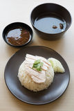 Khao mun kai , Thai food steamed chicken with rice. Stock Images