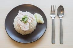Khao mun kai, Thaise voedsel gestoomde kip met rijst Stock Foto's