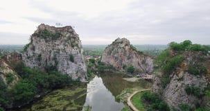 Khao Ngu Stone Park at Ratchabri, Thailand stock footage