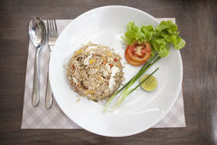 Khao phat pu, Fried rice with crabmeat. Thai food lunchtime dish of Thai rice, Fried rice with crabmeat and mix onion, egg, tomato, and  scallion Stock Images