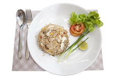 Khao phat pu, Fried rice with crabmeat. Thai food lunchtime dish of Thai rice, Fried rice with crabmeat and mix onion, egg, tomato, and  scallion Stock Photos