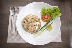 Khao phat pu, Gebraden rijst met krabvlees Stock Afbeeldingen