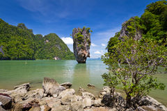 Khao Phing Kan a appelé l'île de James Bond Images libres de droits