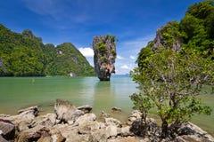 Khao Phing Kan dzwoniąca James Niewolna wyspa Obrazy Royalty Free
