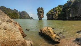 Khao Phing Kan James Bond Island, Phang Nga fjärd, Thailand Fotografering för Bildbyråer