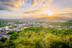 Khao Rang Viewpoint of Phuket city in sunset, Phuket province, T Stock Image