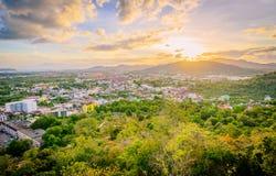 Khao Rang Viewpoint of Phuket city in sunset, Phuket province, T Royalty Free Stock Images