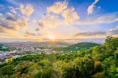 Khao Rang Viewpoint of Phuket city in sunset, Phuket province, T Royalty Free Stock Photography