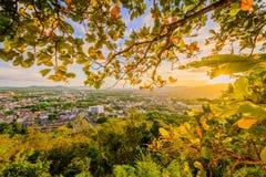 Khao Rang Viewpoint of Phuket city in sunset, Phuket province, T Royalty Free Stock Photo