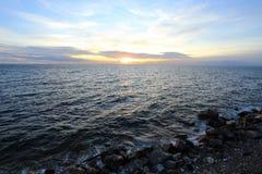 Khao Sam Muk Bang Saen beach and sunset Royalty Free Stock Photography