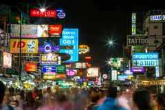 Khao San Road in Bangkok Royalty Free Stock Image