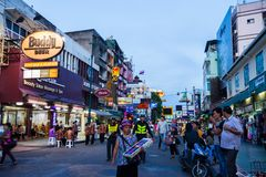 Khao San Road, Bangkok. BANGKOK - MAY 14: Tourists and street vendors at Bangkok`s backpacker hotspot Khao San Road on May 14, 2017 Stock Image
