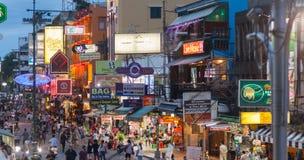Khao San Road, Bangkok. BANGKOK - MAY 14: Tourists and street vendors at Bangkok`s backpacker hotspot Khao San Road on May 14, 2017 Stock Photo