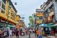 Khao San Road in Bangkok, Thailand. Bangkok, Thailand - August 24, 2017: People walking along the busy streets of Khao San Road in Bangkok, Thailand Stock Image
