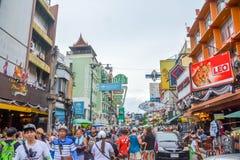 Khao San Road in Bangkok, Thailand. Bangkok, Thailand - August 24, 2017: People walking along the busy streets of Khao San Road in Bangkok, Thailand Royalty Free Stock Images
