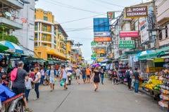 Khao San Road in Bangkok, Thailand. Bangkok, Thailand - August 24, 2017: People walking along the busy streets of Khao San Road in Bangkok, Thailand Stock Photo