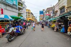 Khao San Road in Bangkok, Thailand. Bangkok, Thailand - August 24, 2017: People walking along the busy streets of Khao San Road in Bangkok, Thailand Stock Images