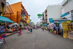 Khao San Road in Bangkok, Thailand. Bangkok, Thailand - August 24, 2017: People walking along the busy streets of Khao San Road in Bangkok, Thailand Stock Photography
