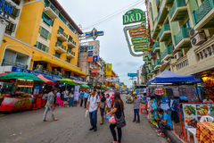 Khao San Road in Bangkok, Thailand. Bangkok, Thailand - August 24, 2017: People walking along the busy streets of Khao San Road in Bangkok, Thailand Stock Images