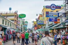 Khao San Road in Bangkok, Thailand. Bangkok, Thailand - August 24, 2017: People walking along the busy streets of Khao San Road in Bangkok, Thailand Stock Image