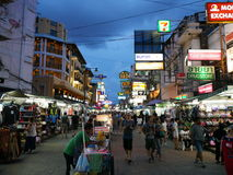 Khao San Road The popular famously described as the centre of the backpacking universe in Bangkok Stock Image