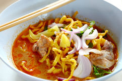 Khao Sawy, Thai noodle with curry soup Stock Photos