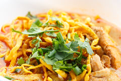 Khao Soi with chicken. Khao Soi, Northern Style Curried Noodle Soup with Chicken Royalty Free Stock Images
