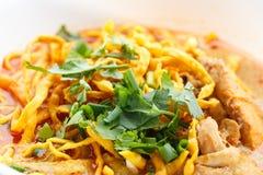 Khao Soi con il pollo Immagini Stock Libere da Diritti