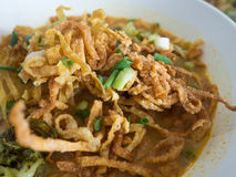 Khao Soi, Curried Noodle Soup with Chicken, Northern Thai Style. Stock Photo