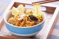 Khao soi curry thai noodle. Khao soi curry noodle northern thai traditional food Stock Photography