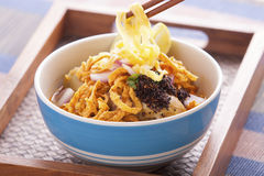 Khao soi curry thai noodle. Khao soi curry noodle northern thai traditional food Stock Image