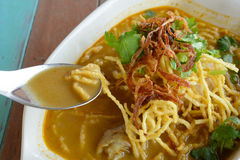 Khao Soi. (Northern Thai Noodle Curry Soup Stock Photography