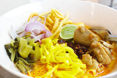 Khao Soi, Northern Thai Noodle Curry Soup. Stock Photos