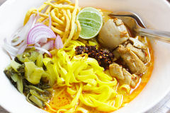 Khao Soi, Northern Thai Noodle Curry Soup. Stock Photography