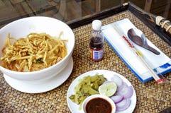Khao Soi st?llde in menyn royaltyfria foton