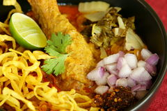 Khao Soi, Thai Food. Khao Soy is a Burmese influenced dish from Northern Thailand royalty free stock photo