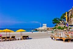 Khao takiab. A beach is beautiful, the green tree, the green sea, the sky is blue Stock Photo