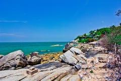 Khao takiab. The green sea, the green tree, the sky is blue Royalty Free Stock Photos