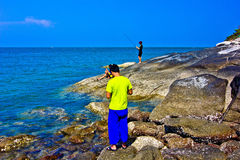 Khao takiab. The green sea, the green tree, the sky is blue Stock Photos