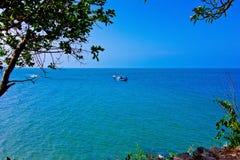 Khao takiab. The green sea, the green tree, the sky is blue Royalty Free Stock Photo