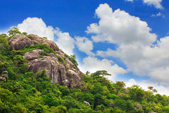 Khao Takiab mountain, Hua Hin, Thailand on blue sky and cloud in. Sunshine background royalty free stock image