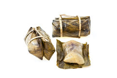 Khao tom mad, sticky rice covered in banana leaf isolated on a w Stock Image