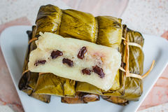 Khao Tom Mat or Khao Tom Pad, Thai dessert made from banana and Stock Photo