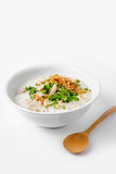 'Khao Tom Moo' Thai Breakfast, Rice congee mixed with meat. On white backgroud Stock Photos
