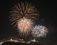 Khao Wang com fogos-de-artifício Imagens de Stock