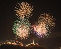 Khao Wang con i fuochi d'artificio Fotografia Stock Libera da Diritti